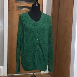 Old navy green cable knit button front cardigan